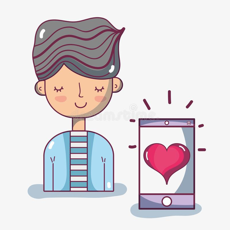 Man with hairstyle and smartphone with heart. Vector illustration stock illustration