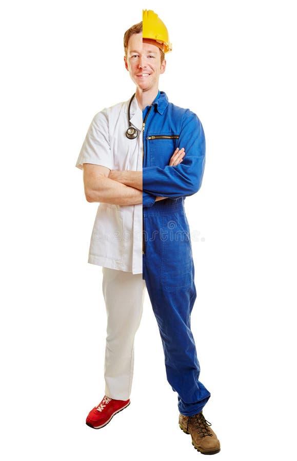 Man half doctor half construction worker stock photography