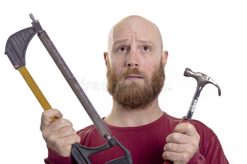 Man with hammer and saw. Use hammer or saw isolated on white background, carpenter stock images