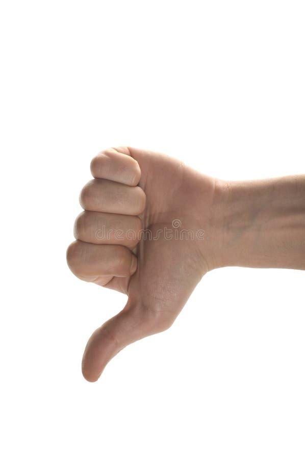 Man hand die duim neer toont stock afbeeldingen