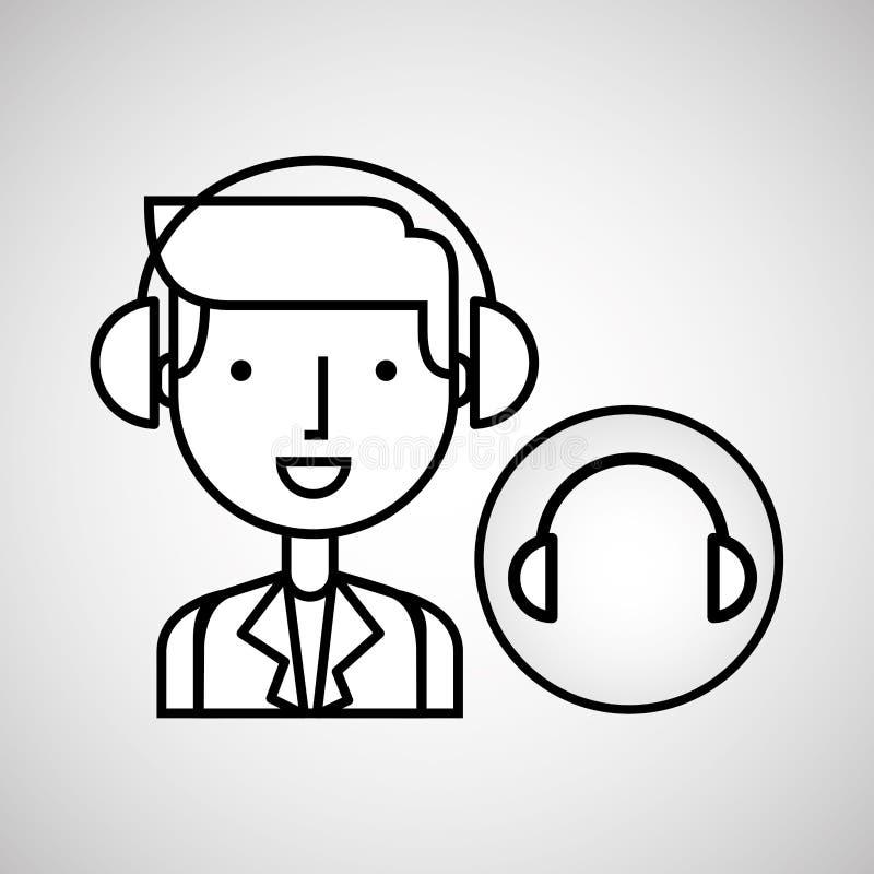 Man hand drawing listening music headphones vector illustration