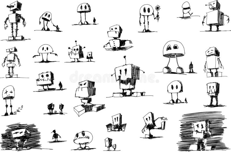 Man hand drawn sketches of funny robots royalty free illustration