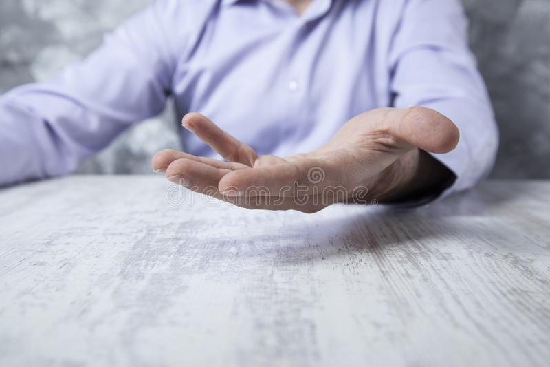 Man hand empty on table royalty free stock photos