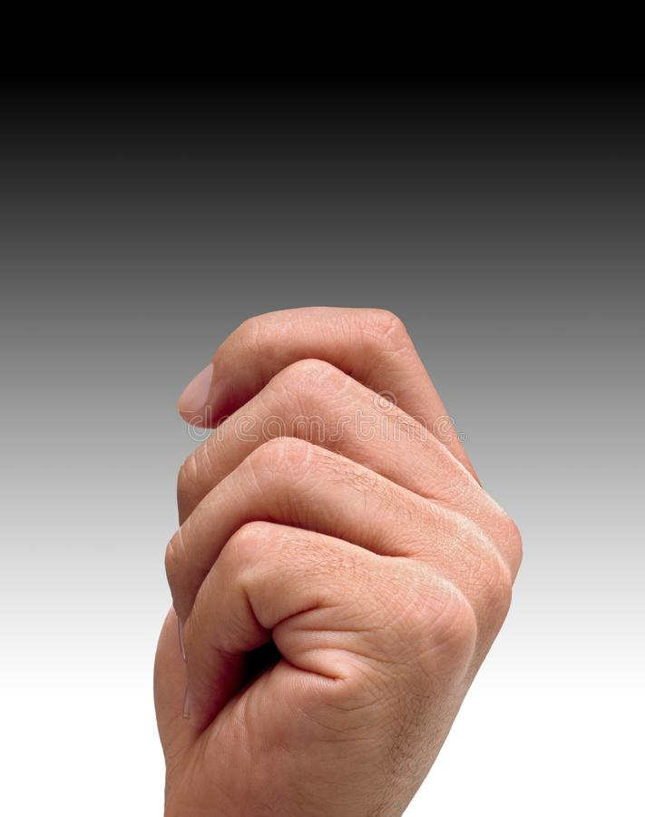 MAN HAND WITH FINGERS CURLED IN POSITION READY TO HOLD SOMETHING. Man hand with manicured fingers curled in position ready to grasp something stock image