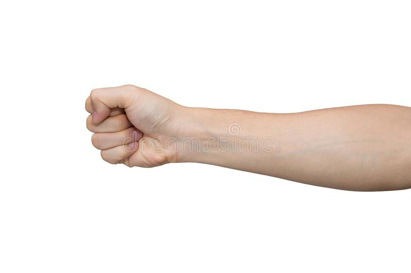 Man hand with fist isolated on white background with clipping path. Man hand with fist isolated on white background stock photography