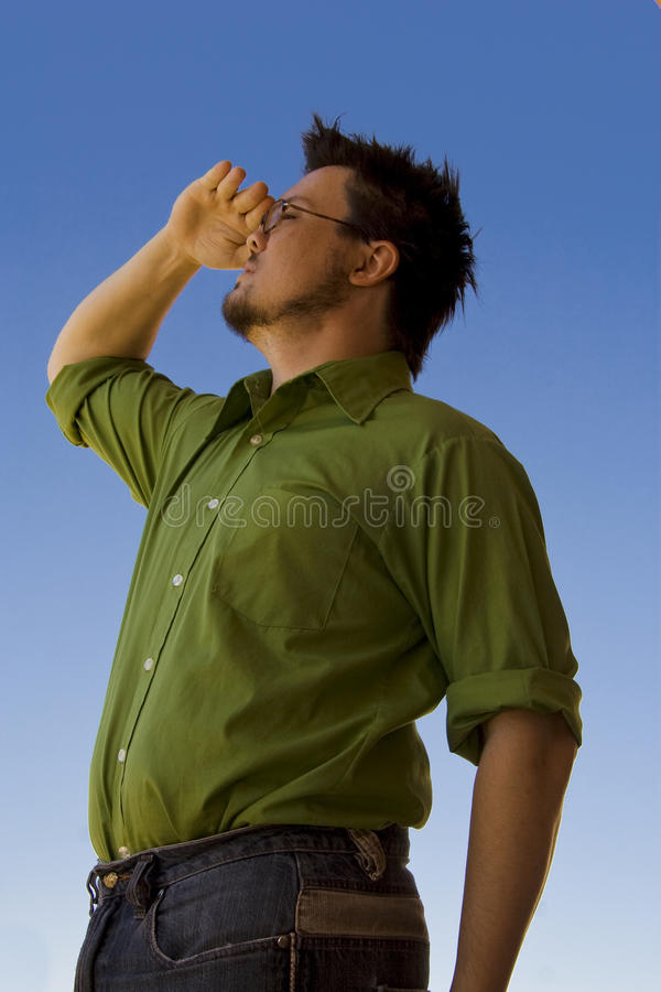Man with hand on forehead royalty free stock photo