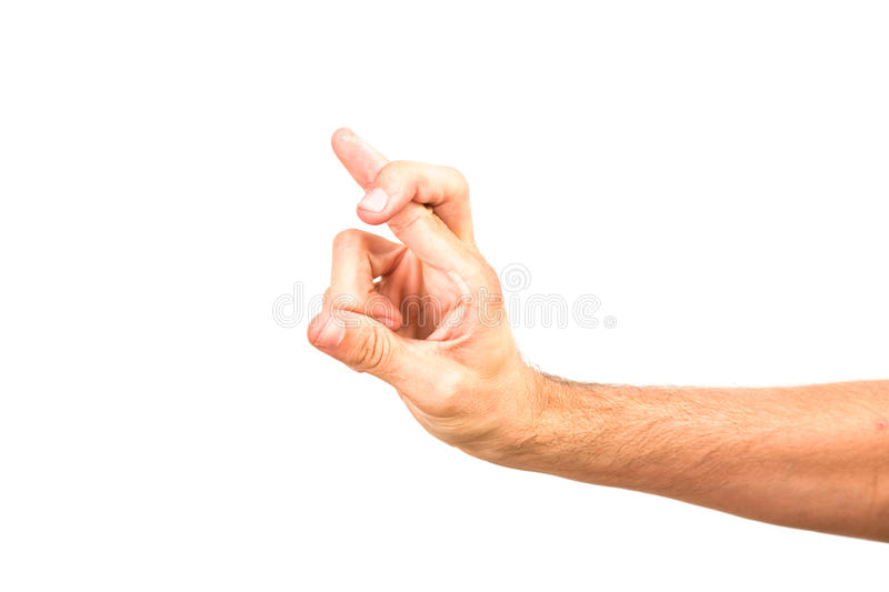 Man hand forming sign by crossed fingers stock images