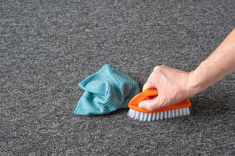 Man hand without gloves cleaning gray  carpet with brush and microfibre cloth. dry cleaning technique stock images