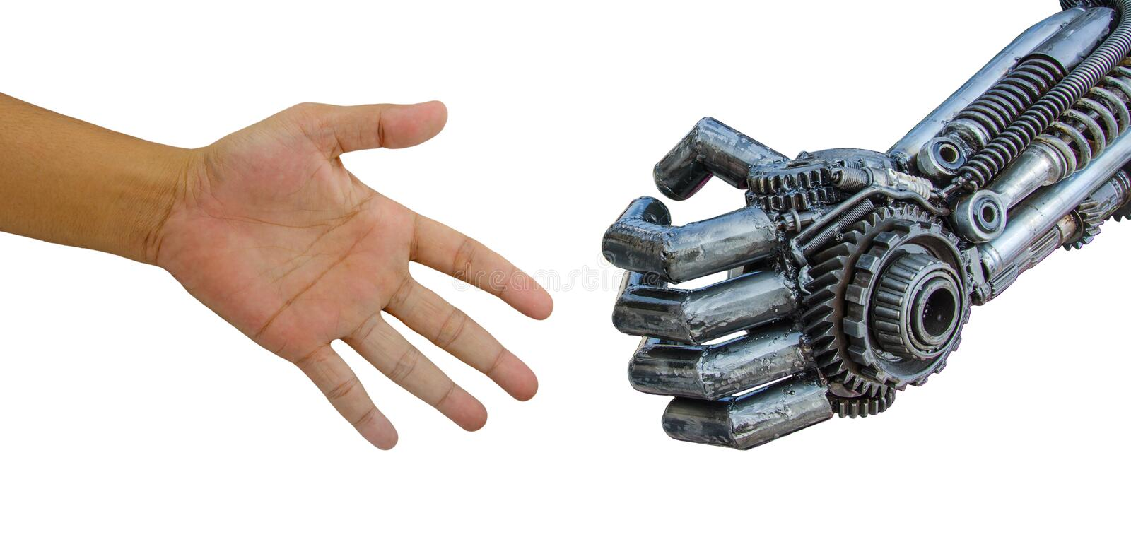 Man hand handshake with cy-ber robot isolated on white backgrou. Nd stock photography
