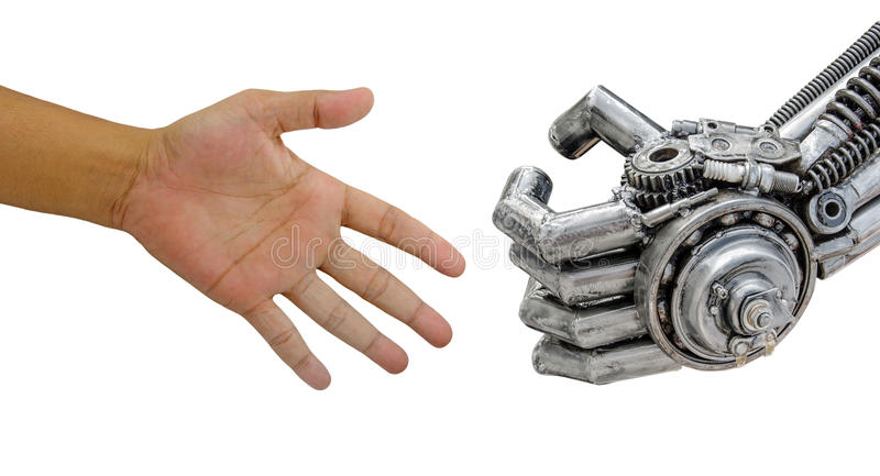Man hand handshake with cy-ber robot isolated on white backgrou. Nd stock photo