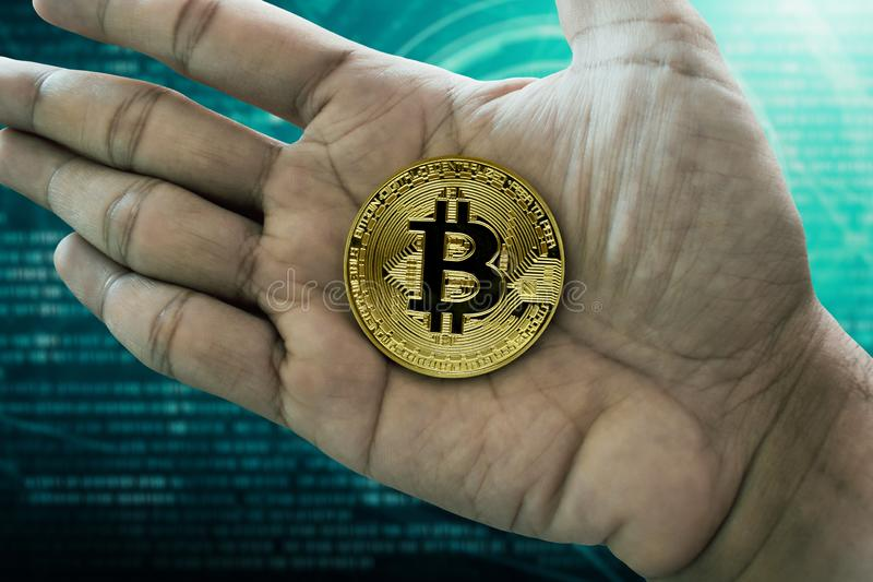 Man hand hold golden bitcoin. Man hand holding golden bitcoin stock images