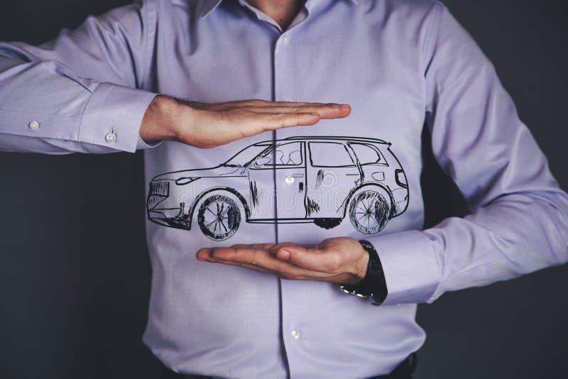 Man hand car model royalty free stock photo