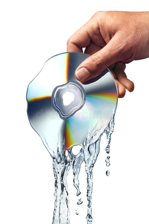 Download Man Hand Holding A CD Melting Into Water. Royalty Free Stock Image - Image: 22729256
