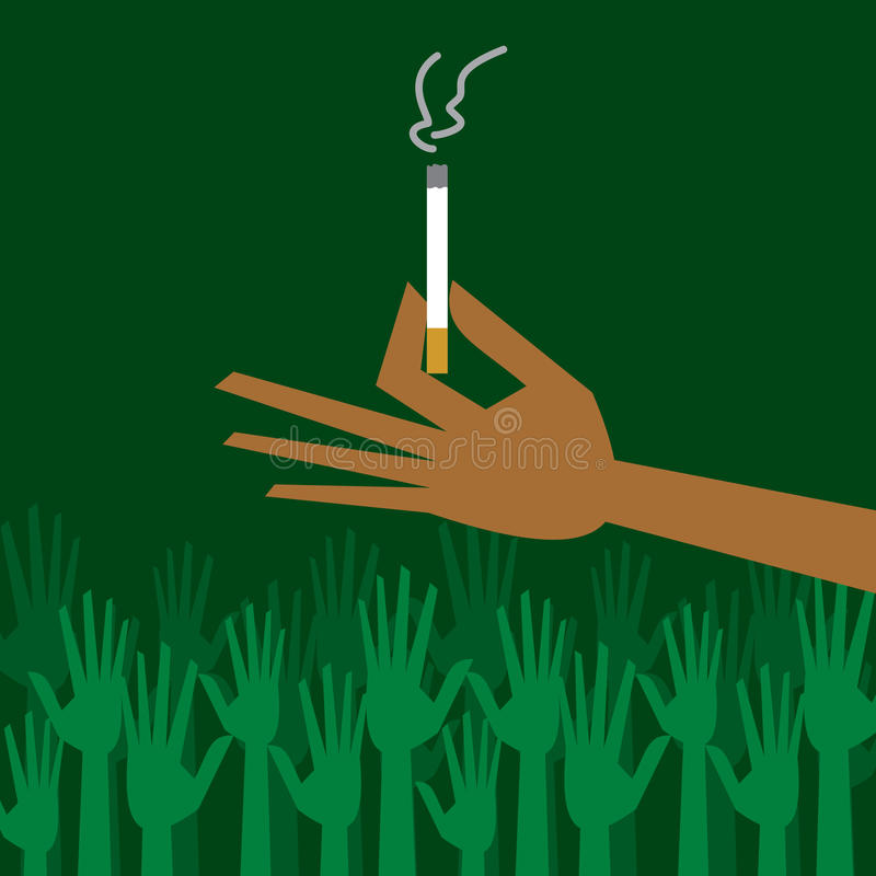 Man hand holding a cigarette with smoke