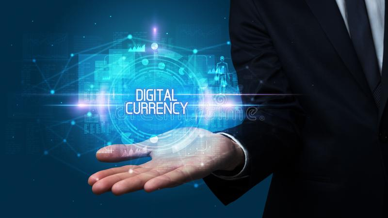 Man hand holding digital technology concept. Man hand holding DIGITAL CURRENCY inscription, technology concept stock photo
