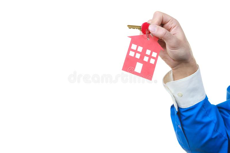 Man hand holding home keys stock images