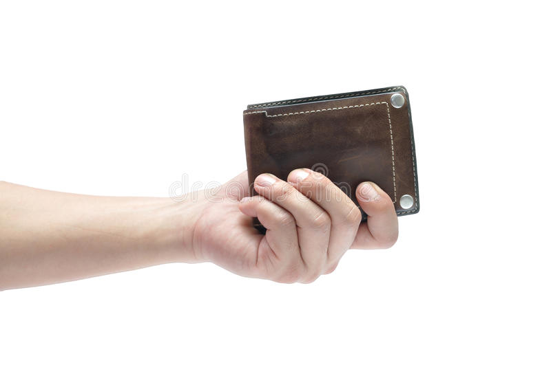 Man hand holding leather men wallet isolated on white background stock image