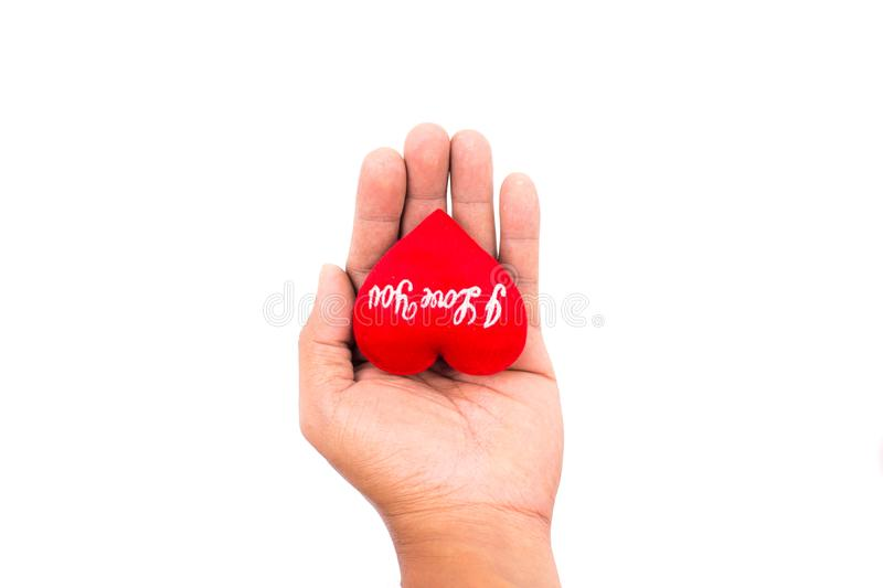 Man hand holding red heart isolated on white background. Using as Valentine`s day concept, Love concept. royalty free stock photography