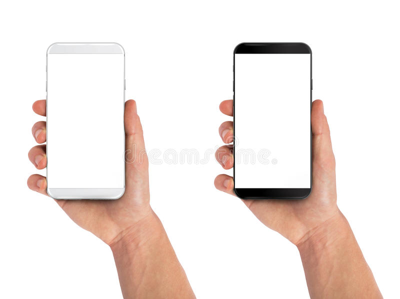 Man hand holding smartphone. Black and white isolated on white. Modern bezel free smartphones stock photos