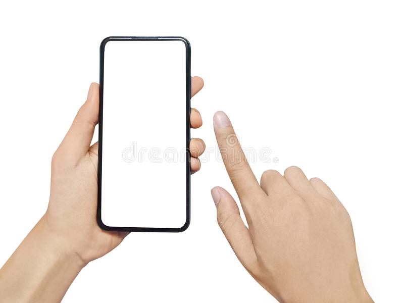 Man hand holding smartphone isolated on white background. Blank white screen for your text. stock photo