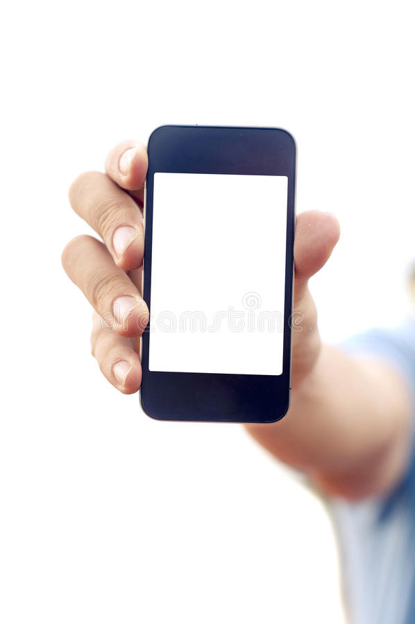 Download Man Hand Holding Smartphone Or Phone Royalty Free Stock Photography - Image: 27546157