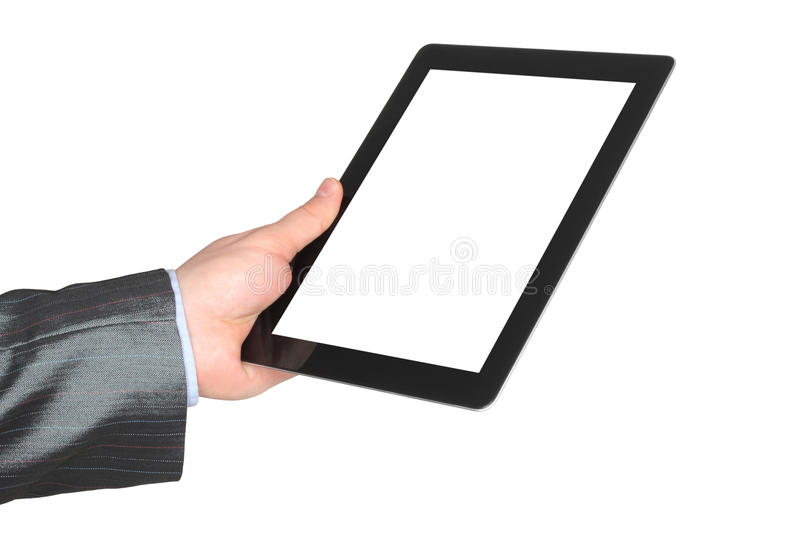 Man hand holding tablet PC stock image