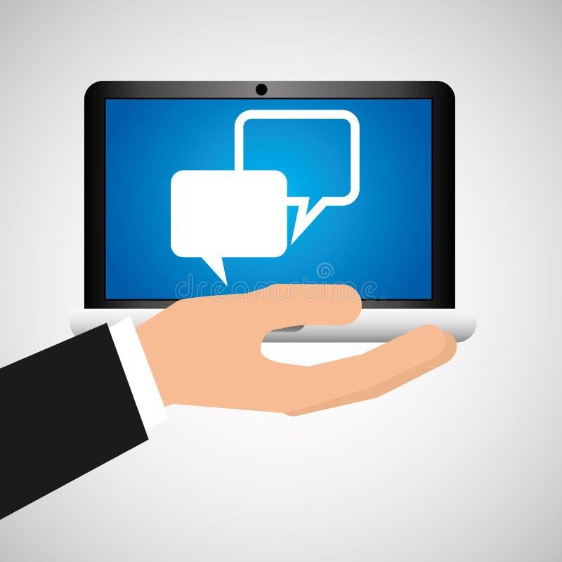 Man hand holds laptop mobile bubble speech social media vector illustration