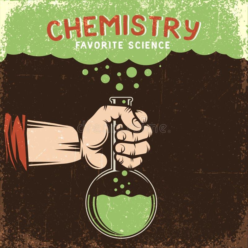 Man hand houdt chemische fles met groene vloeistof vector illustratie