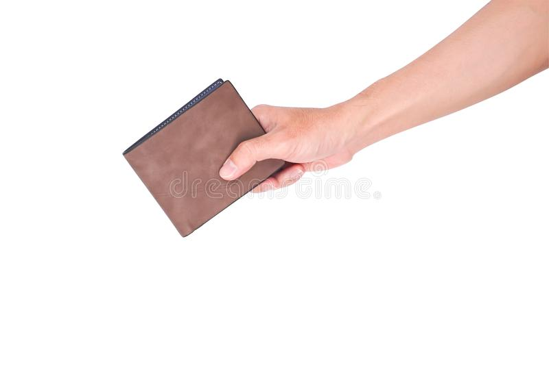 Man hand open an empty wallet isolated on white background with. Clipping path stock image