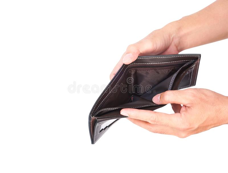 Man hand open an empty wallet isolated on white background with. Clipping path royalty free stock photos