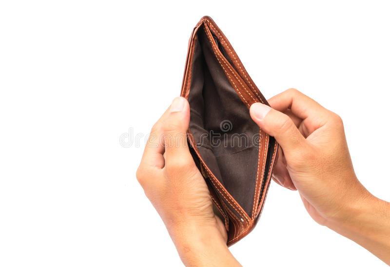 Man hand open an empty wallet on white background royalty free stock image