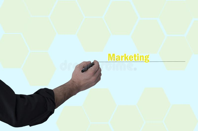 Man hand pen with marketing text. In screen stock photos
