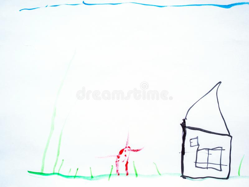 Man hand with the pencil drawing the dream home on a white sheet of paper royalty free stock photography