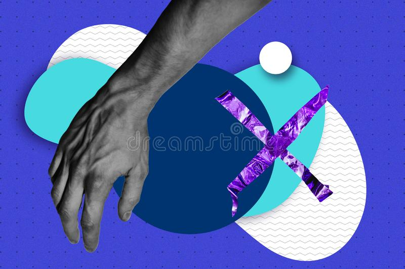 Man hand photo with abstract shapes and stickers fantasy illustration. Magazine collage style banner with space for text. Bold trendy colors. Hands touching stock photography