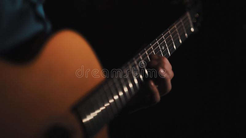 Man Hand Playing Acoustic Guitar Fast Finger Change Chords Stock