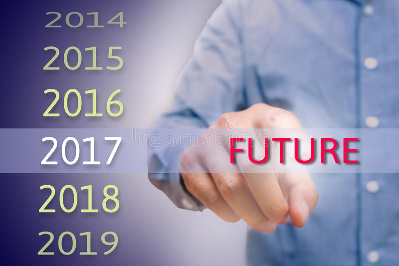 Man hand pointing future text, Body man, businessman planing work for 2017. Business new year plans and targets concept. stock image