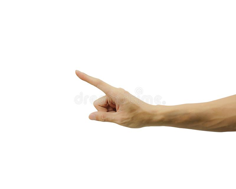 A man hand pointing or touch screen isolated on white background. Carefully cut out by pen tool and insert clipping path stock photography