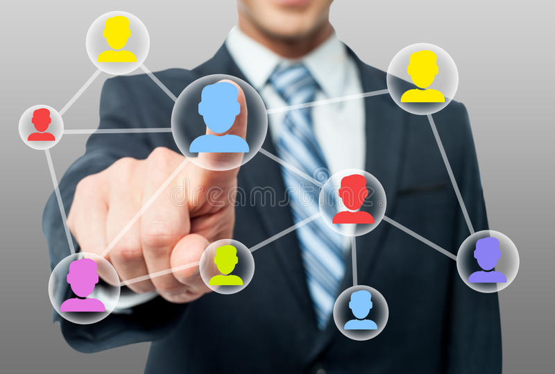 Man hand pressing contact on virtual screen. Businessman touching virtual icon of social network royalty free illustration