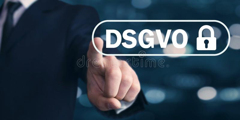 Man hand pressing lock. DSGVO concept stock photography