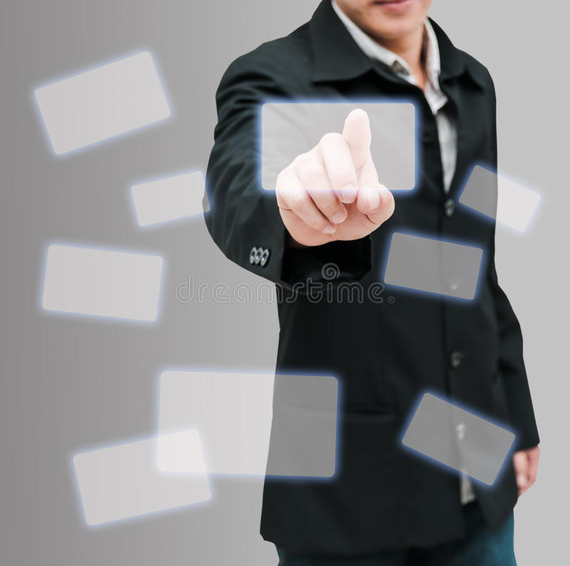 Man hand push royalty free stock image