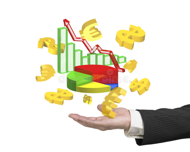 Man hand showing business growth graphs dollar signs euro symbol vector illustration