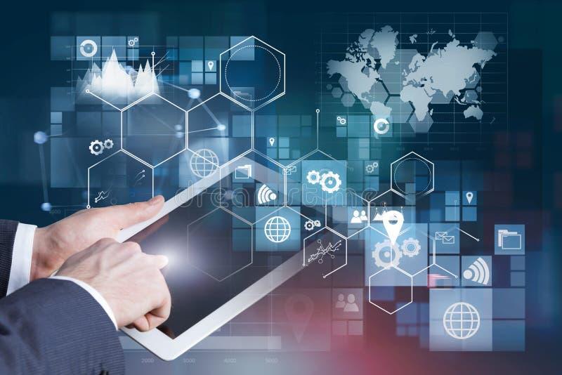Man hand on tablet, business interface vector illustration