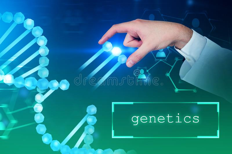 Man taking genes from dna helix, genetics. Man hand taking genes from blue dna helix over blue green background. Text genetics in bottom. Biotech, biology royalty free illustration