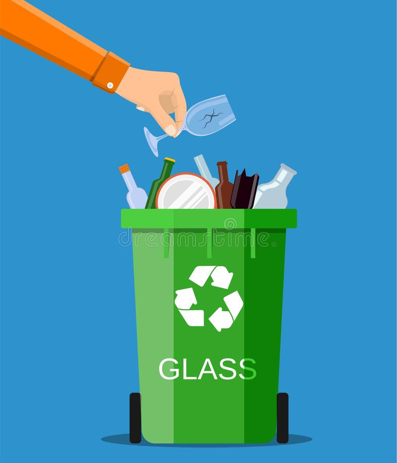Man hand throws garbage into a glass container stock illustration