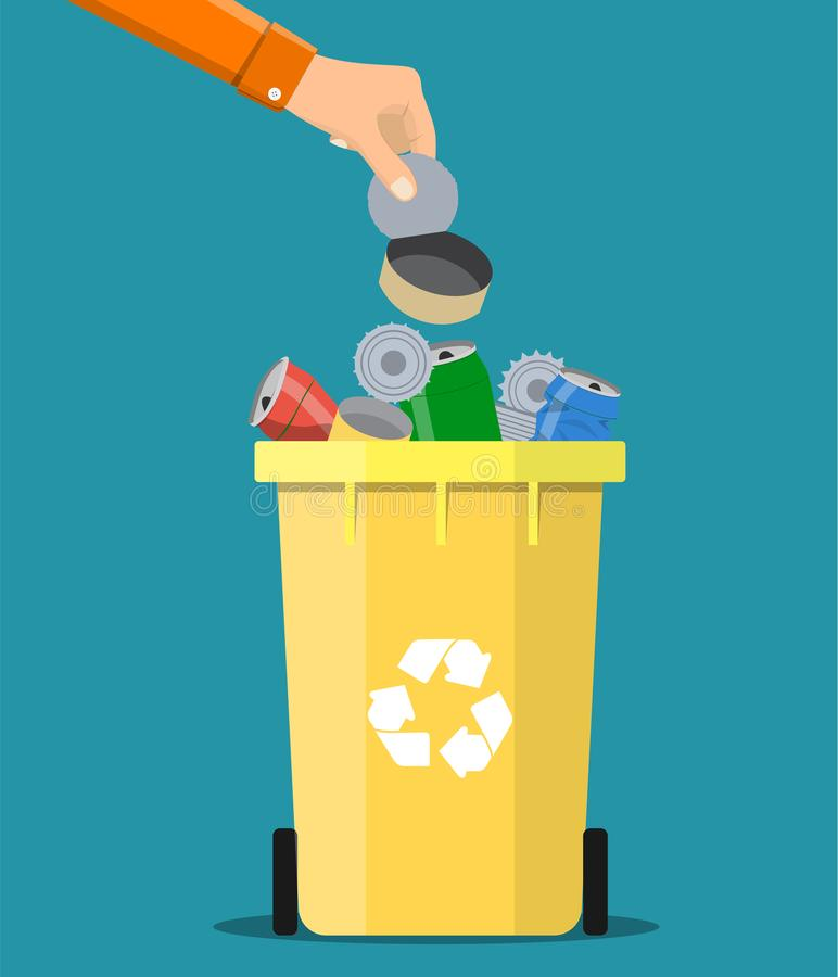 Man hand throws garbage into a metal container stock illustration