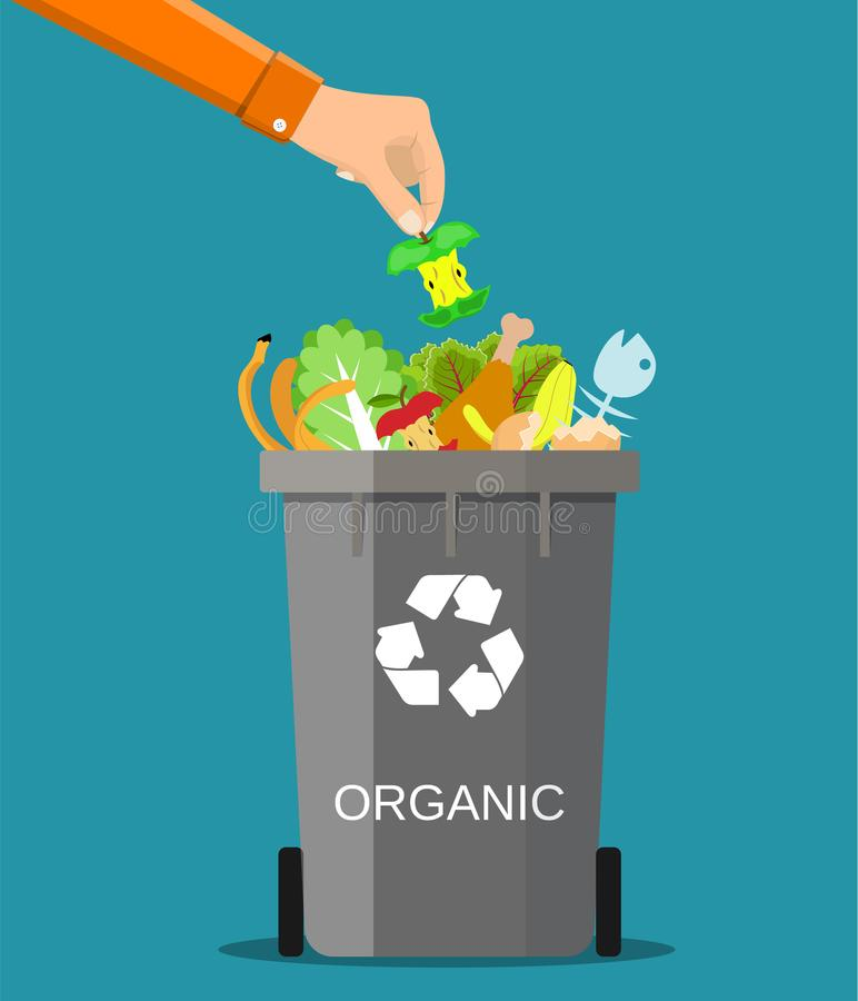 Man hand throws garbage into a organic container. Vector illustration in flat style royalty free illustration
