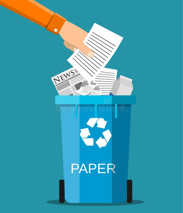 Man hand throws garbage into a paper container royalty free illustration