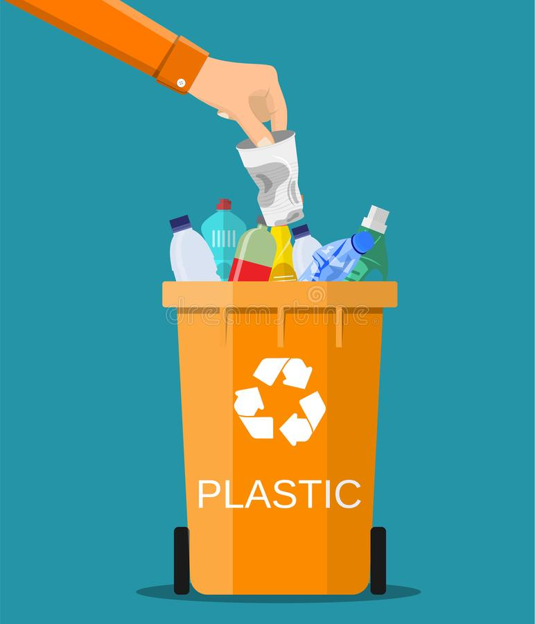 Man hand throws garbage into a plastic container vector illustration