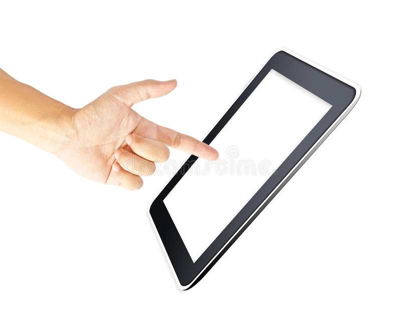 Download Man Hand Touching Screen On Modern Digital Tablet Stock Image - Image: 26554897