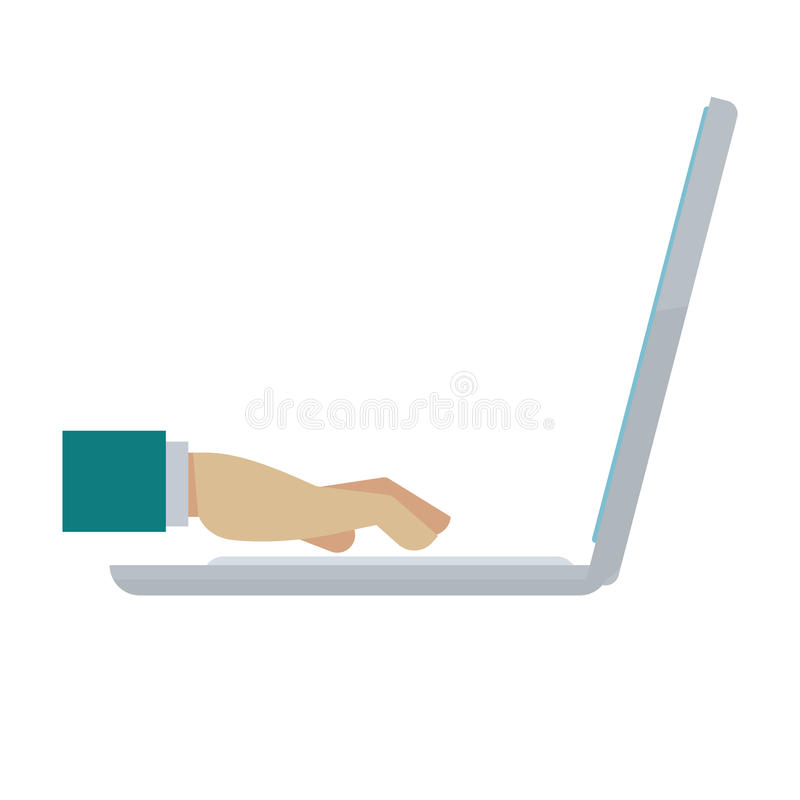 Man hand typing on notebook isolated on white. Vector illustration vector illustration